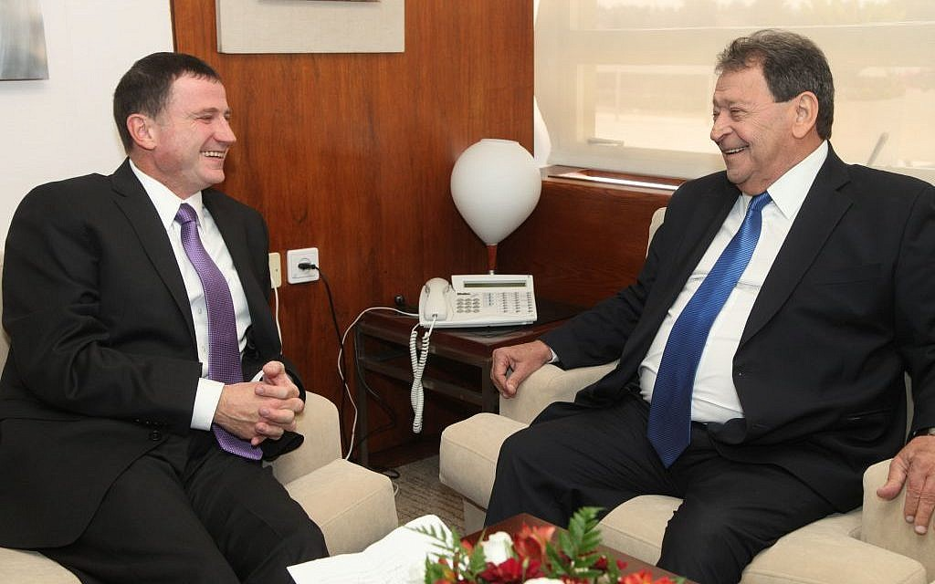 MK Ben-Eliezer presents his candidacy for President of Israel to Knesset Speaker Yuli Edelstein, May 27, 2014.(Issac Harari/Knesset Spokesperson/Flash90)