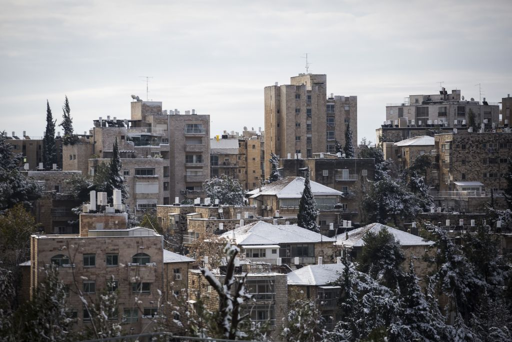 View of Jerusalem's Rehavia neighborhood on January 10, 2015, after a snowy day. (Hadas Parush/Flash90)