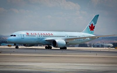 An Air Canada flight at Ben Gurion airport in Tel Aviv, September 2014. (Moshe Shai/Flash90)