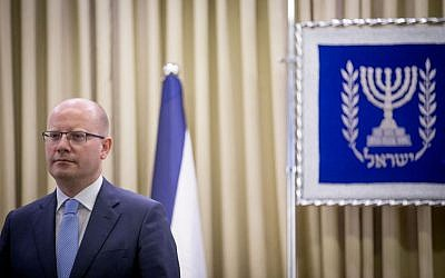Czech Prime Minister Bohuslav Sobotka arrives for a meeting with President Reuven Rivlin (unseen), at the President's Residence in Jerusalem, May 22, 2014 (Yonatan Sindel/Flash90)