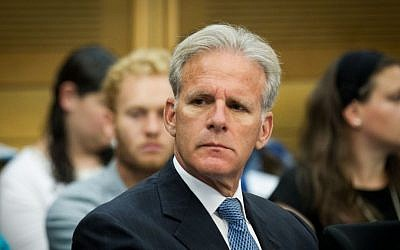 MK Michael Oren during a committee session at the Knesset, June 20, 2016. (Miriam Alster/Flash90)
