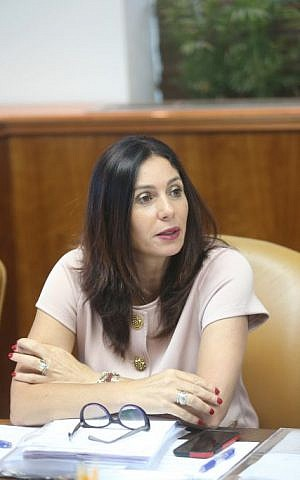 Culture and Sport Minister Miri Regev seen at the weekly cabient meeting in the Prime Minister's Office, Jerusalem July 10, 2016. (Alex Kolomoisky/POOL)
