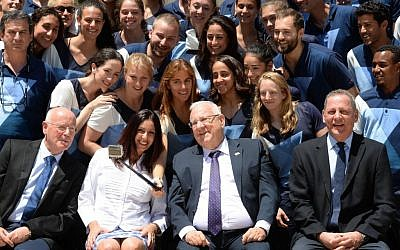 Israeli President Reuven Rivlin hosts the Israeli delegation to the 2016 Olympics in Rio, at the President's Residence in Jerusalem, on July 13, 2016.(Mark Neyman/GPO).