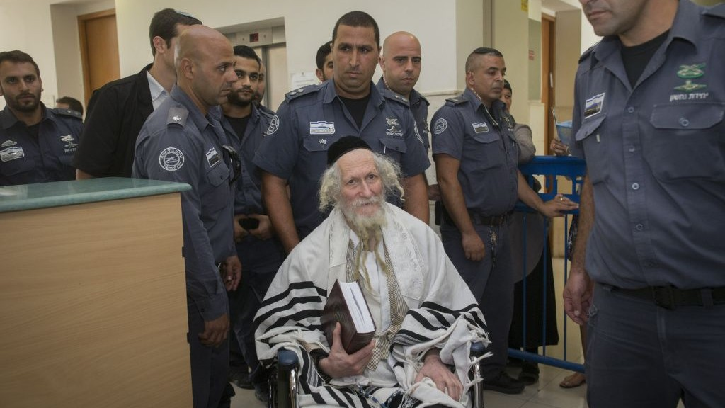 Rabbi Eliezer Berland at the Jerusalem District Court in Jerusalem on August 1, 2016.(Yonatan Sindel/ Flash90)