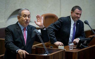 Prime Minister Benjamin Netanyahu speaks at Knesset for a special session marking the day of Zeev Jabotinsky's death on August 3, 2016. (Yonatan Sindel/Flash90)