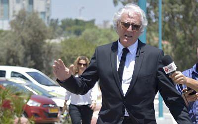 Tzion Amir, attorney of former Israeli president Moshe Katsav on August 4, 2016. (Roy Alima/Flash90)