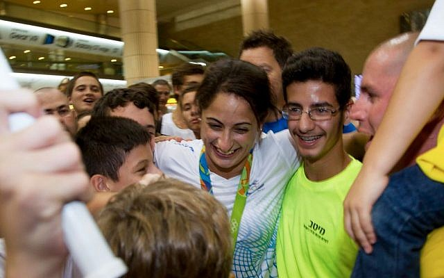 Yarden Gerbi at Ben-Gurion airport in Tel Aviv on August 15, 2016. (Roy Alima/Flash90)