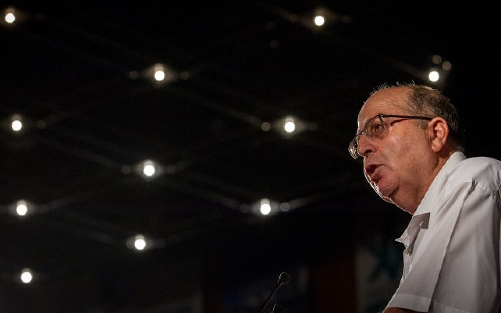 Former Israeli defense minister Moshe Ya'alon  speaks at the 2016 Israel Medical Conference, at the International Conference Center in Jerusalem on August 16, 2016. (Miriam Alster/Flash90)