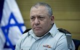 IDF chief of staff Gadi Eisenkot attends a State Control committee meeting at the Knesset on August 16, 2016. (Yonatan Sindel/Flash90)