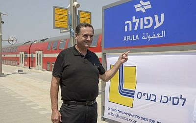 Transportation Minister Yisrael Katz attends the opening ceremony for a new train station in Afula on Monday, August 29, 2016 (Netivei Israel/Handout)