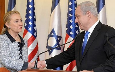 Then Secretary of State Hillary Clinton meeting with Israeli Prime Minister Benjamin Netanyahu at the prime minister's office in Jerusalem, Israel on November 20, 2012. (Avi Ohayon/GPO via Getty Images)