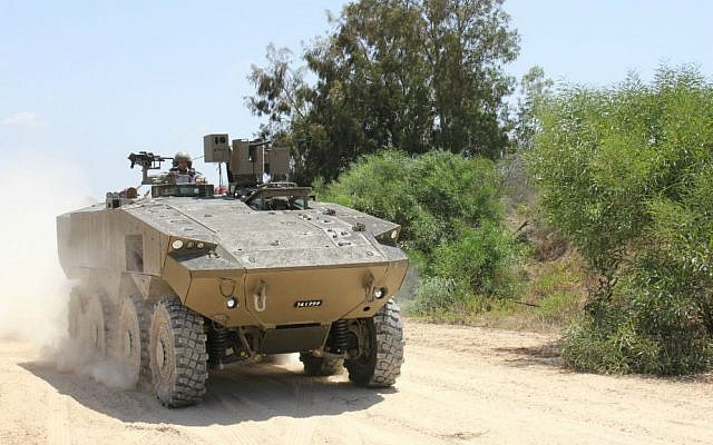 """The Defense Ministry's """"Eitan"""" (""""Steadfast"""") armored personnel carrier. (Dana Shraga, Israeli Ministry of Defense)"""