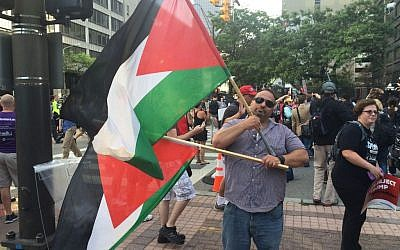 Abbas Hamideh, 41, of the Palestine Right to Return Coalition, protests Donald Trump outside the 2016 Republican National Convention in Cleveland (Eric Cortellessa/Times of Israel)