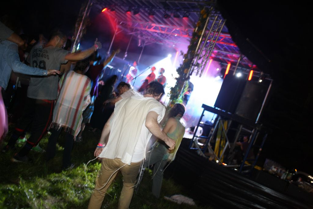 Orthodox festival goers at The Camping Trip dancing to Moshav Band. (Madison Margolin/ Times of Israel)