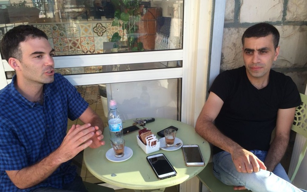 Adam Ziv and Alaa Sweetat, coexistence owners of Bouza, Galilean-flavored gelato Jessica Steinberg/Times of Israel)