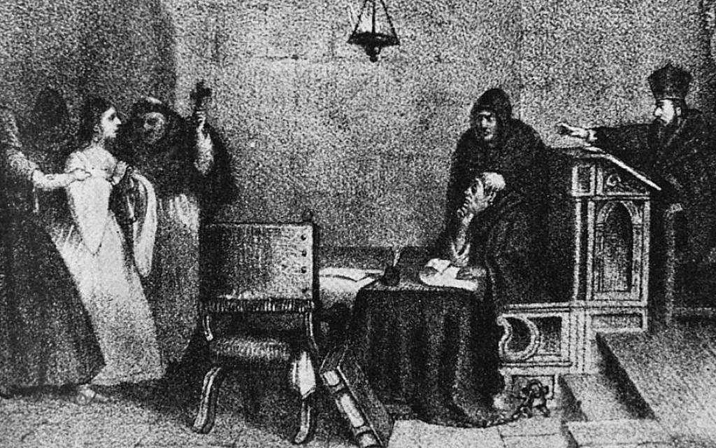 'A Hearing Before the Inquisition,' engraving by Mexican artist Constantino Escalante. (Public domain)