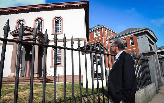 Virginia Sen. Tim Kaine, the Democratic candidate for vice president, visiting the historic Touro Synagogue in Newport, Rhode Island, Aug. 17, 2016. (Facebook via JTA)