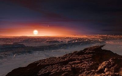 This artist rendering provided by the European Southern Observatory shows a view of the surface of the planet Proxima b orbiting the red dwarf star Proxima Centauri, the closest star to the Solar System. Photo: European Southern Observatory via AP
