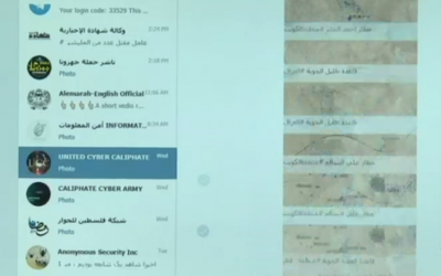 A Channel 10 TV screenshot apparently showing Islamic State's Telegram internet group (Channel 10 screenshot)