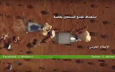 Two MZD-2 cluster bombs dropped from a Hezbollah drone near Aleppo, Syria, according to footage released on August 9, 2016. (Jawad Metni/DanChurchAid)