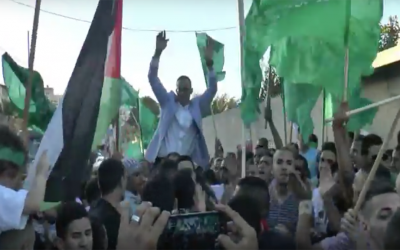 A party thrown for Sufyan Abdu, who had just been released from prison after serving a 14-year sentence for attempting to poison Israelis during the Second Intifada, in the East Jerusalem neighborhood of Jabel Mukaber on August 15, 2016. (Screen capture: YouTube)