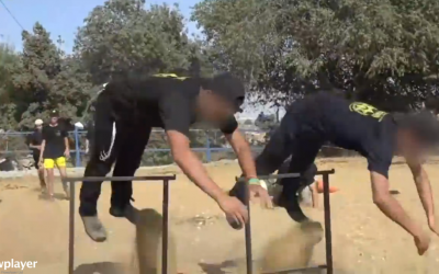 Participants in a Lehava summer camp perform exercises. (screen capture: Ynet)