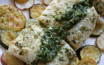 Sheet Pan Chimichurri Cod with Potatoes and Squash (Jennifer Stempel)