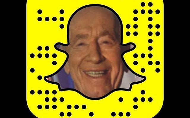Shimon Peres's Snapchat profile (Screen capture: Facebook)