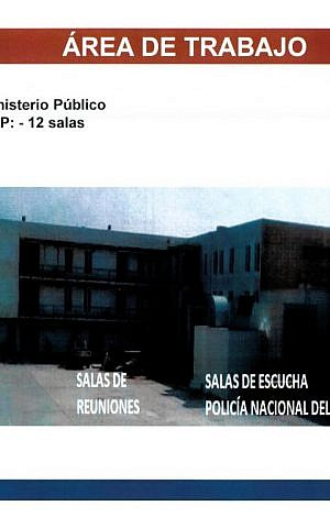 """A page from a Peruvian government document dated August 2015, obtained by The Associated Press. It shows a photo of buildings in Peru's capital, Lima, where it was being installed; labels indicate offices for prosecutors, meeting rooms and """"listening rooms."""" (AP Photo)"""