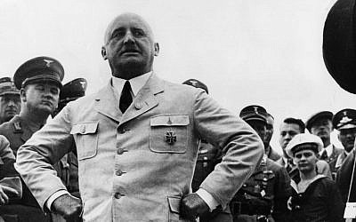 Julius Streicher, founder of Nazi propaganda paper Der Sturmer, striking a pose in Berlin, August 15, 1935. (Getty Images/JTA)