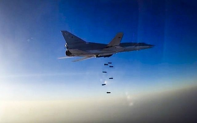 In this frame grab provided by the Russian Defense Ministry press service, a Russian long range Tu-22M3 bomber carries out an air strike over Aleppo region of Syria on Tuesday, Aug. 16, 2016. (Russian Defense Ministry Press Service photo via AP)