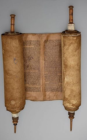 A circa 16th-century Sephardic Torah scroll from Spain. (Courtesy)