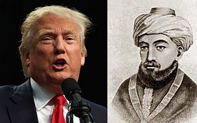 Restoring the past vs. improving on what came before. Donald Trump at a Republican rally in San Diego, May 27, 2016. (Spencer Platt/Getty Images) / Maimonides (via Wikipedia commons)