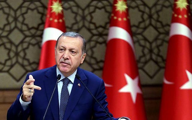 Turkey's President Recep Tayyip Erdogan speaks to the heads of chambers of commerce in Ankara, Turkey, on Thursday, Aug. 4, 2016. (Kayhan Ozer/Presidential Press Service, Pool Photo via AP)