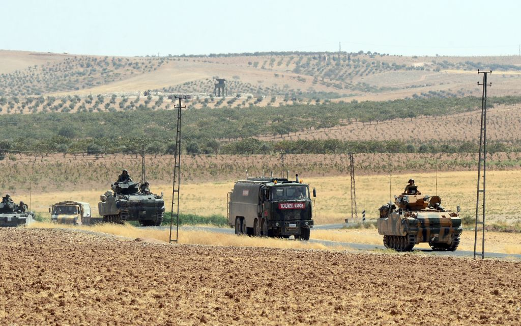 Illustrative photo of Turkish troops returning from the Syrian border, in Karkamis, Turkey, Saturday, August 27, 2016. (Ismail Coskun, IHA via AP)