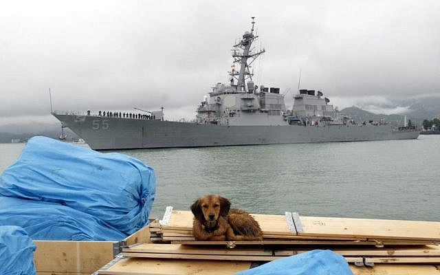 In this July 14, 2009 file photo, the US guided missile destroyer USS Stout enters Georgia's Black Sea port of Batumi. (AP/ Shakh Aivazov)