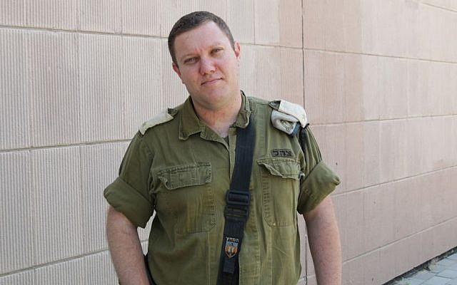Major Aviv Gelbar, commander of the IDF's Medical Trauma Simulator. (Luke Tress/Times of Israel)