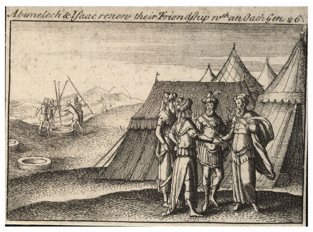 A lithograph depicting Abraham making an oath to the Philistine King Abimelech. (University of Toronto Wenceslaus Hollar Digital Collection)