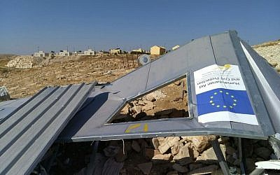 An EU-funded shelter in the Palestinian village of Umm al-Khair, demolished by Israeli authorities on August 9, 2016. (Courtesy Guy Butavia)
