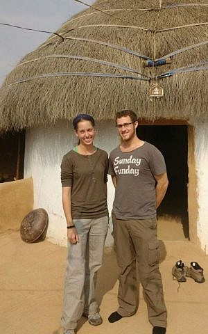 Yisrael and Haviva Yanover, who got married while serving as lone soldiers in the IDF, on their honeymoon in India in early 2016. (Courtesy)