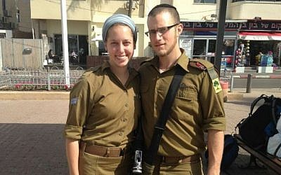 Yisrael and Haviva Yanover, who got married while serving as lone soldiers in the IDF, in an undated photograph. (Courtesy)