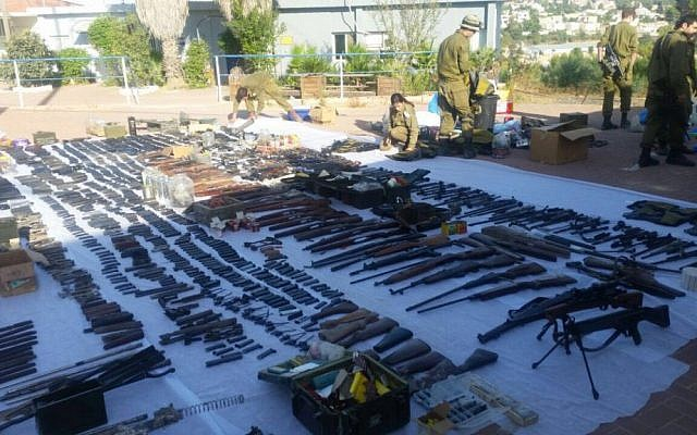 Dozens of illegal weapons seized by Israeli security forces in Bethlehem and Hebron on August 23, 2016, as part of a large crackdown effort on illicit guns in the West Bank. (Israel Police)