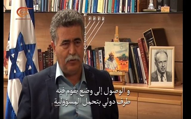 Former defense minister Amir Peretz interviewed for Hezbollah's Al-Mayadeen TV (YouTube screenshot)