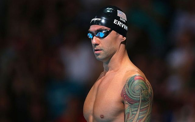 Anthony Ervin preparing for the 50-meter freestyle semifinal at the FINA World Championships in Barcelona, Spain, Aug. 2, 2013. (Clive Rose/Getty Images)