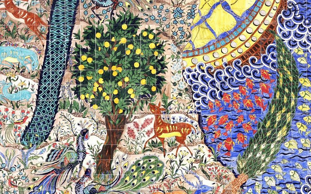 A detail of a mural by world-renowned Armenian artist Marie Balian. (Shmuel Bar-Am)