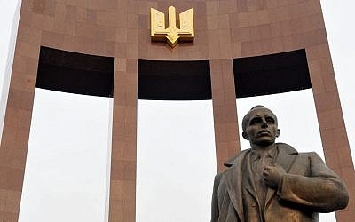 A statue of Stepan Bandera in Lviv, Ukraine, September 2014. (Courtesy Andrey Syasko/via JTA)