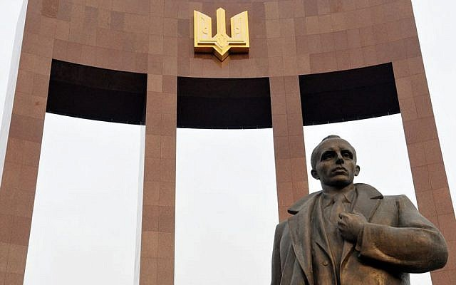 A statue of Stepan Bandera in Lviv, Ukraine, September 2014. (Courtesy Andrey Syasko/via JTA)