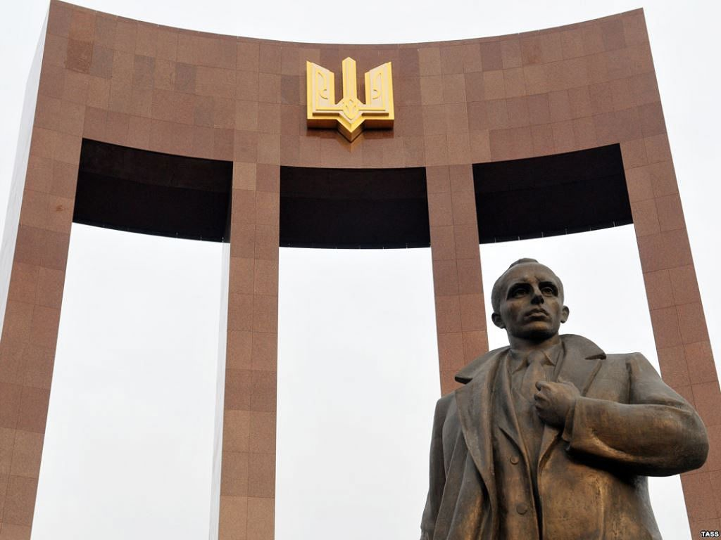 A statue of Stepan Bandera in Lviv, Ukraine, September 2014. (Courtesy of Andrey Syasko/ via JTA)