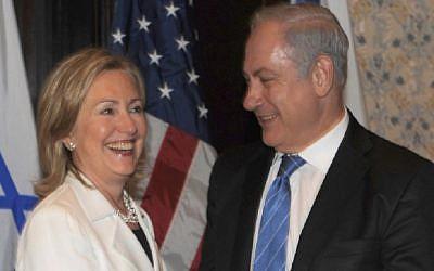 Prime Minister Benyamin Netanyahu meets with then US secretary of state Hillary Clinton, in Sharm el-Sheik, Egypt, 14 September 2010. Moshe Milner/Flash90)