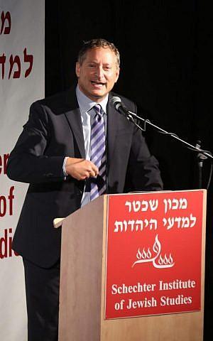 SodaStream CEO Daniel Birnbaum addresses MA graduates at the the Schechter Institute in Jerusalem in July (Schechter Institute of Jewish Studies /Yossi Zamir)